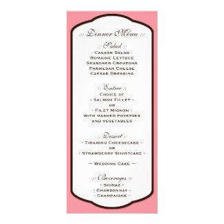 Pink Brown & White Wedding Reception Menus Personalized Rack Card
