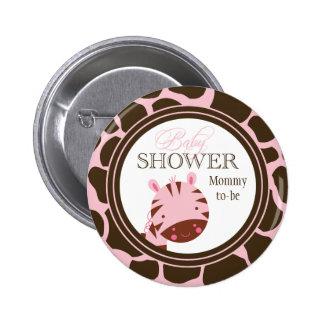 Pink + brown zebra girls baby shower button