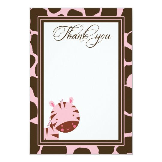 Pink + brown zebra girls thank you flat card
