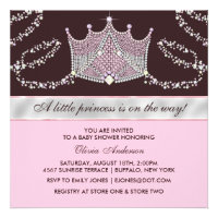 Pink BrownTiara Baby Girl Princess Baby Shower Personalized Announcement