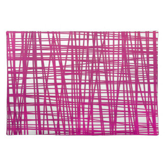 Pink Brushstroke Watercolor Stripes Placemat