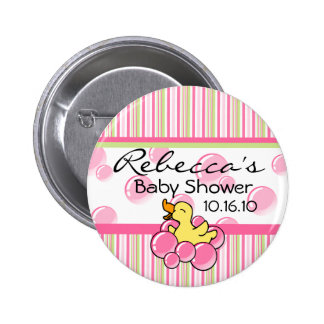 Pink Bubble Ducky Baby Shower Buttons