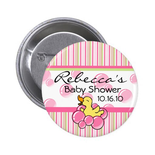 pink bubble ducky baby shower buttons zazzle