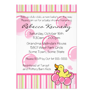 Pink Bubble Ducky Baby Shower Invitations