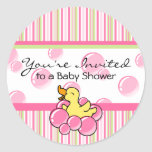 Pink Bubble Ducky Baby Shower Stickers