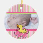 Pink Bubble Ducky Personalized Photo Ornament