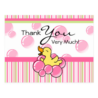 Pink Bubble Ducky Thank You Cards
