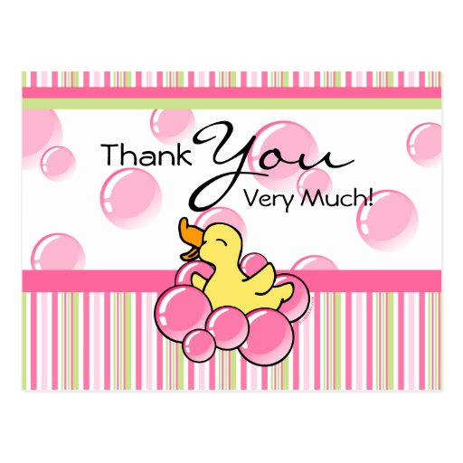 Pink Bubble Ducky Thank You Cards Postcards