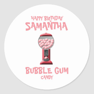 Pink Bubble Gum Candy Machine Classic Round Sticker