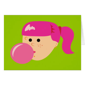 Pink Bubble Gum Girl Card