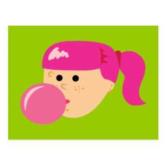 Pink Bubble Gum Girl Postcard