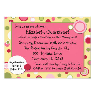 Pink Bubble Gum Yum Baby Shower Party Invitation