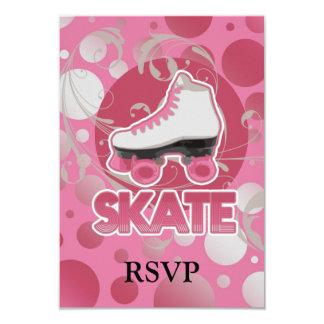 Pink Bubble Swirl Roller Skate, Skating 3.5x5 Paper Invitation Card