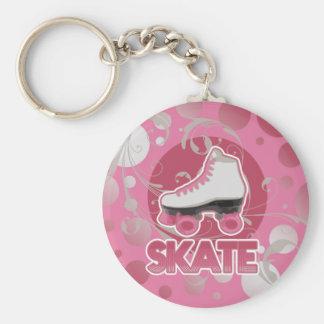 Pink Bubble Swirl Roller Skate, Skating Basic Round Button Keychain