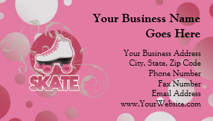 Roller derby business cards zazzle pink bubble swirl roller skate skating business card colourmoves