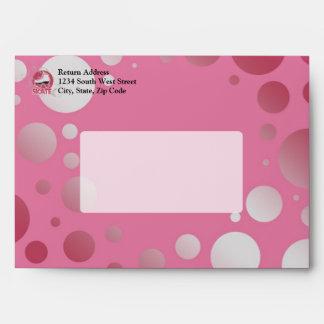 Pink Bubble Swirl Roller Skate, Skating Envelope