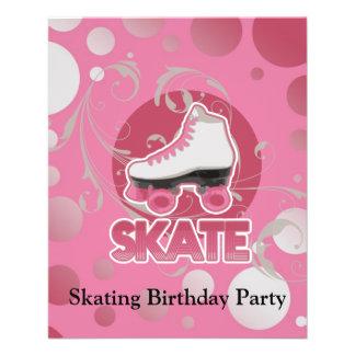 Pink Bubble Swirl Roller Skate, Skating Full Color Flyer