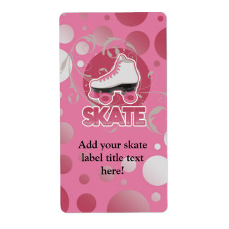 Pink Bubble Swirl Roller Skate, Skating Shipping Labels