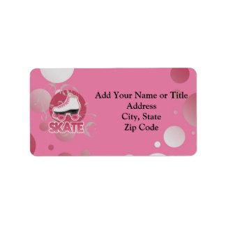 Pink Bubble Swirl Roller Skate, Skating Custom Address Labels