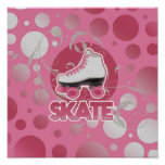 Pink Bubble Swirl Roller Skate, Skating Posters