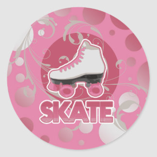 Pink Bubble Swirl Roller Skate, Skating Classic Round Sticker
