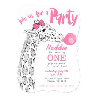 Pink Bubblegum and Giraffe Party Invitation