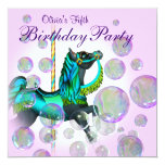 Pink Bubbles Carousel Pony Girls Birthday Party Card