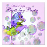 Pink Bubbles Carousel Pony Girls Birthday Party 5.25x5.25 Square Paper Invitation Card