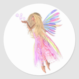 Pink Bubbles Fairy Classic Round Sticker