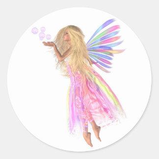 Pink Bubbles Fairy Classic Round Sticker