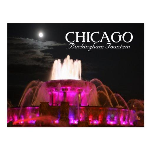 Pink Buckingham Fountain Chicago Postcard