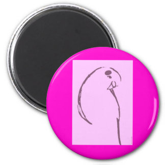 Pink Budgie Drawing Magnet