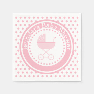 Pink Buggy Baby Shower Paper Napkin