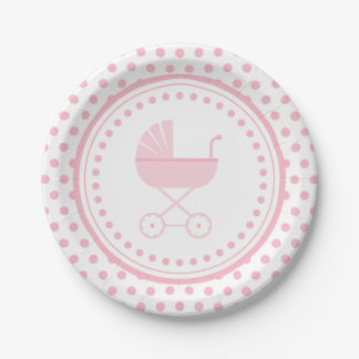 Pink Buggy Baby Shower Paper Plate