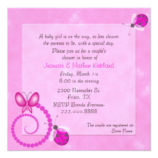Pink Bugs Couple's Baby Shower Invitation