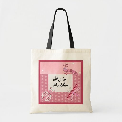 Pink Bugs Monogram Name Bag