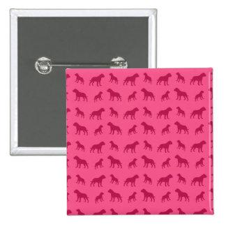 Pink bulldog pattern pinback button