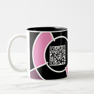 pink bullseye QR code Two-Tone Coffee Mug
