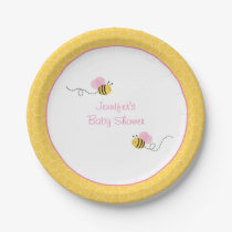 Pink Bumble Baby Shower Paper Plate