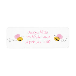 Pink Bumble Bee Address Labels