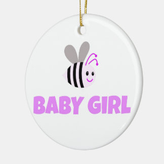Pink Bumble Bee Baby Girl Ceramic Ornament