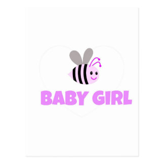 Pink Bumble Bee Baby Girl Postcard
