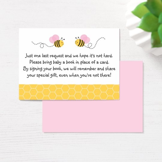 Pink Bumble Bee Baby Shower Book Request Cards