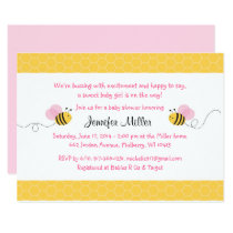 Pink Bumble Bee Baby Shower Card