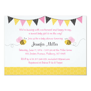 Pink Bumble Bee Baby Shower Invitations 4.5