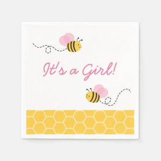 Pink Bumble Bee Baby Shower Napkin