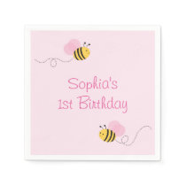 Pink Bumble Bee Baby Shower Paper Napkin