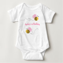 Pink Bumble Bee Birthday Baby Bodysuit