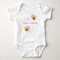Pink Bumble Bee Birthday Baby Bodysuit