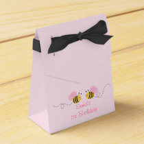 Pink Bumble Bee Birthday Favor Box
